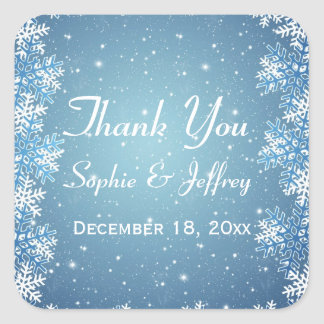 Snowflakes on blue Wedding Thank You Square Sticker