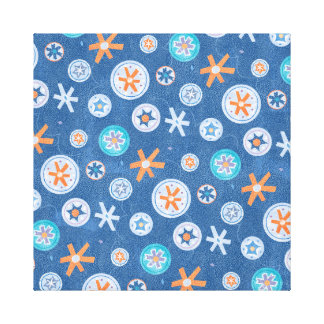 Snowflakes on Blue Winter Christmas Holiday Snow Stretched Canvas Print