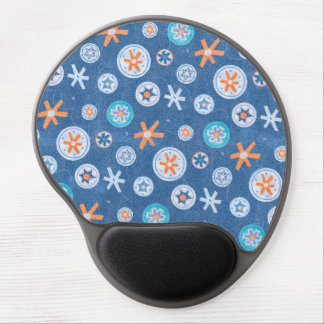 Snowflakes on Blue Winter Christmas Holiday Snow Gel Mouse Pads