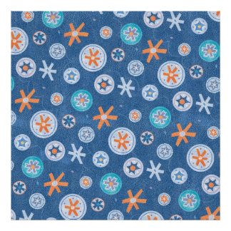 Snowflakes on Blue Winter Christmas Holiday Snow Posters