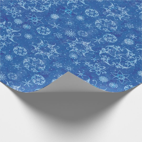 Snowflakes on Blue Wrapping Paper