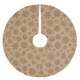 Snowflakes on Cardboard Pattern Brushed Polyester Tree Skirt