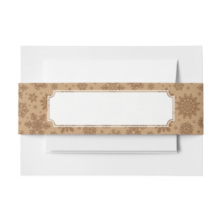 Snowflakes on Cardboard Pattern Invitation Belly Band