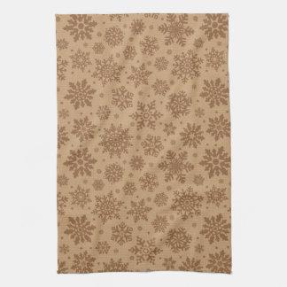 Snowflakes on Cardboard Pattern Tea Towel