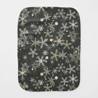 Snowflakes on Dark Background Burp Cloth