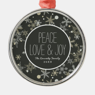 Snowflakes on Dark Background Christmas Ornament