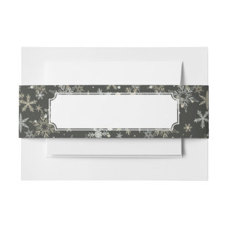 Snowflakes on Dark Background Invitation Belly Band
