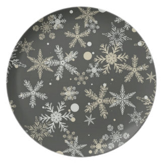 Snowflakes on Dark Background Plate