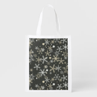Snowflakes on Dark Background Reusable Grocery Bag
