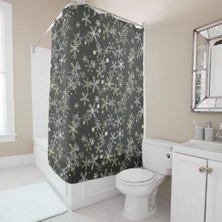 Snowflakes on Dark Background Shower Curtain