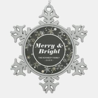 Snowflakes on Dark Background Snowflake Pewter Christmas Ornament