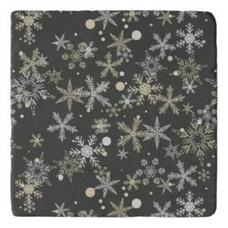 Snowflakes on Dark Background Trivet