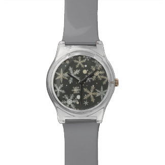 Snowflakes on Dark Background Wrist Watches