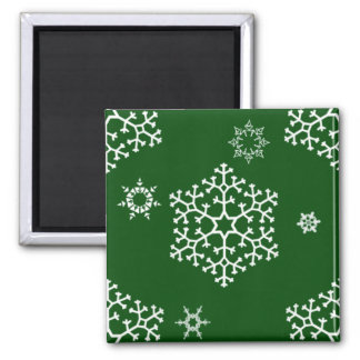 snowflakes_on_dark_green square magnet