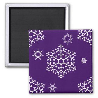 snowflakes_on_dark_purple square magnet