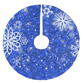 Snowflakes on Glitter Blue ID454 Brushed Polyester Tree Skirt