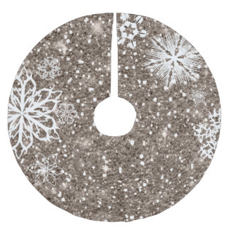 Snowflakes on Glitter Bronze ID454 Brushed Polyester Tree Skirt