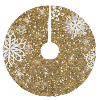 Snowflakes on Glitter Gold ID454 Brushed Polyester Tree Skirt