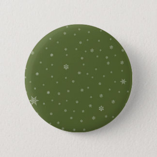 Snowflakes on Green 6 Cm Round Badge