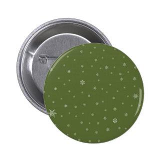 Snowflakes on Green 6 Cm Round Badge