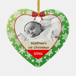 Snowflakes on Green Baby's Christmas Ornament