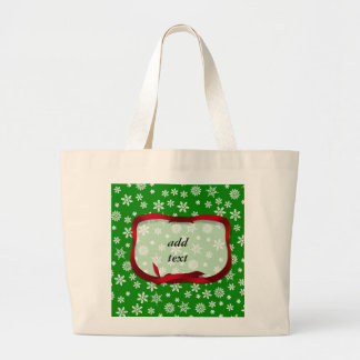 Snowflakes On Green Background Jumbo Tote Bag