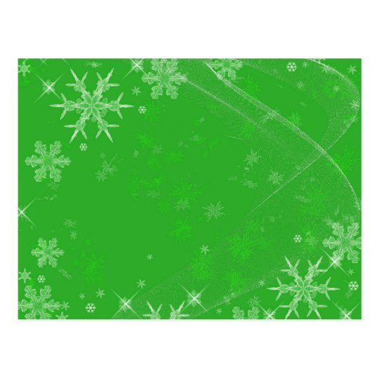 Snowflakes on Green Postcard