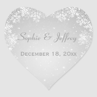 Snowflakes on grey Save the Date Wedding Heart Sticker