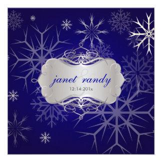 Snowflakes on Indigo, Winter  Wedding Invitations