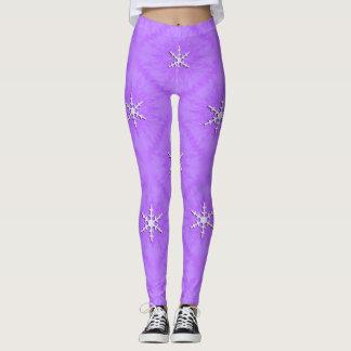 Snowflakes on lavender... leggings