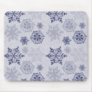 Snowflakes on Light Blue Mouse Pad