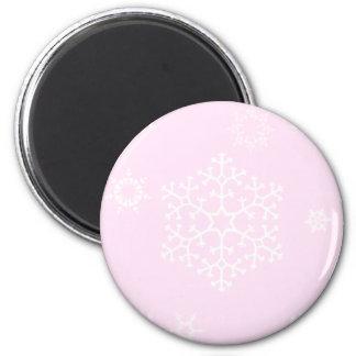 snowflakes_on_light_pink refrigerator magnet