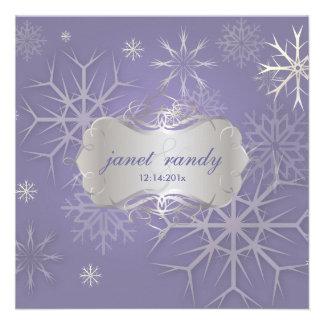 Snowflakes on lilac Winter Wedding Invitations