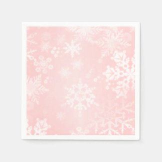 Snowflakes on Pink Paper Napkins