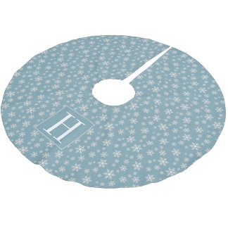 Snowflakes on Powder Blue with Monogram Brushed Polyester Tree Skirt