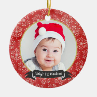 Snowflakes on Red 1st Christmas Photo Ornament