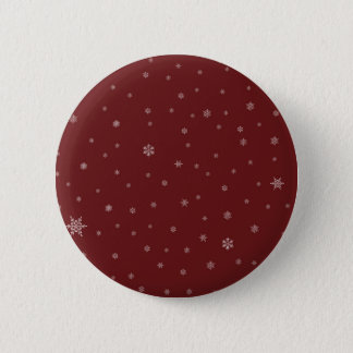 Snowflakes on Red 6 Cm Round Badge