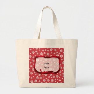 Snowflakes on Red Background Jumbo Tote Bag