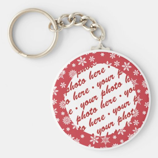 Snowflakes on Red Background Photo Frame Keychains
