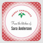 Snowflakes on Red, Christmas Baking Square Sticker