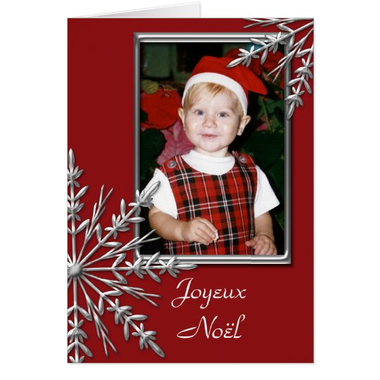 Snowflakes on Red Joyeux Noël French Christmas Card