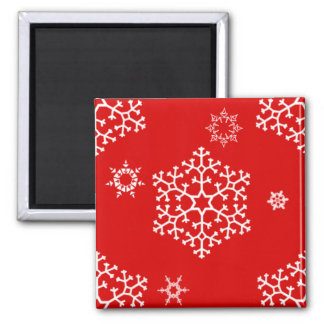 snowflakes_on_red square magnet