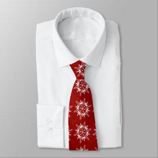 Snowflakes on Red Tie