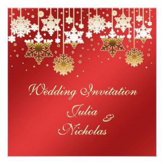 Snowflakes on red Wedding Invitation