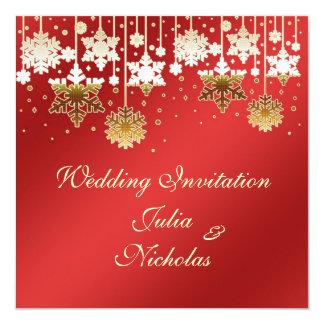 "Snowflakes on red Wedding Invitation 5.25"" Square Invitation Card"