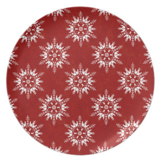 Snowflakes on Textured Red Party Plate