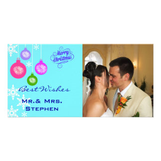 Snowflakes Ornaments Our First Christmas PhotoCard Photo Card Template