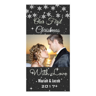 Snowflakes Our First Christmas Wedding Photo Cards