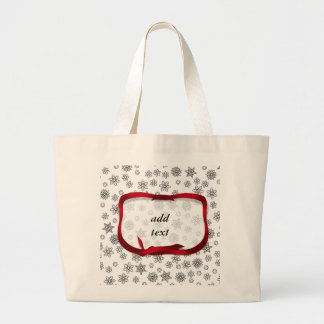 Snowflakes Outlined with Red Ribbon Tag Jumbo Tote Bag