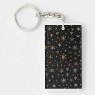 Snowflakes - Pale Brown on Black Rectangular Acrylic Keychains